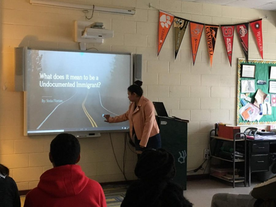 Sixta tells the freshman AVID I about what it means to be a undocumented immigrant.