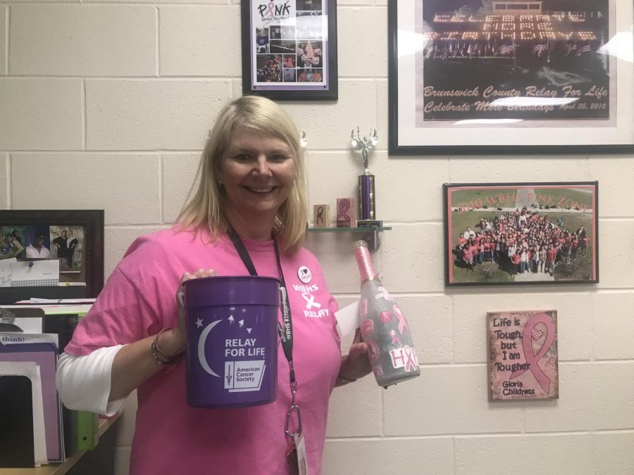 Mrs. Chellie with all her relay for life items