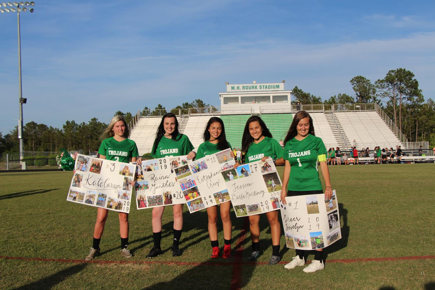 Our five seniors, from left to right: Kate Carson, Raina Gunther, Jessica Barba, Estephanie Cruz, and Greer Josselyn.