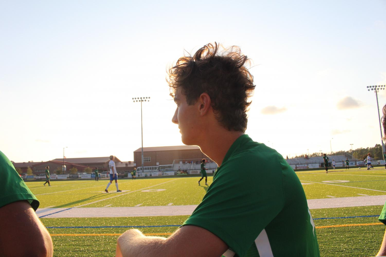 Connor Humphreys watches his team from the sidelines.
