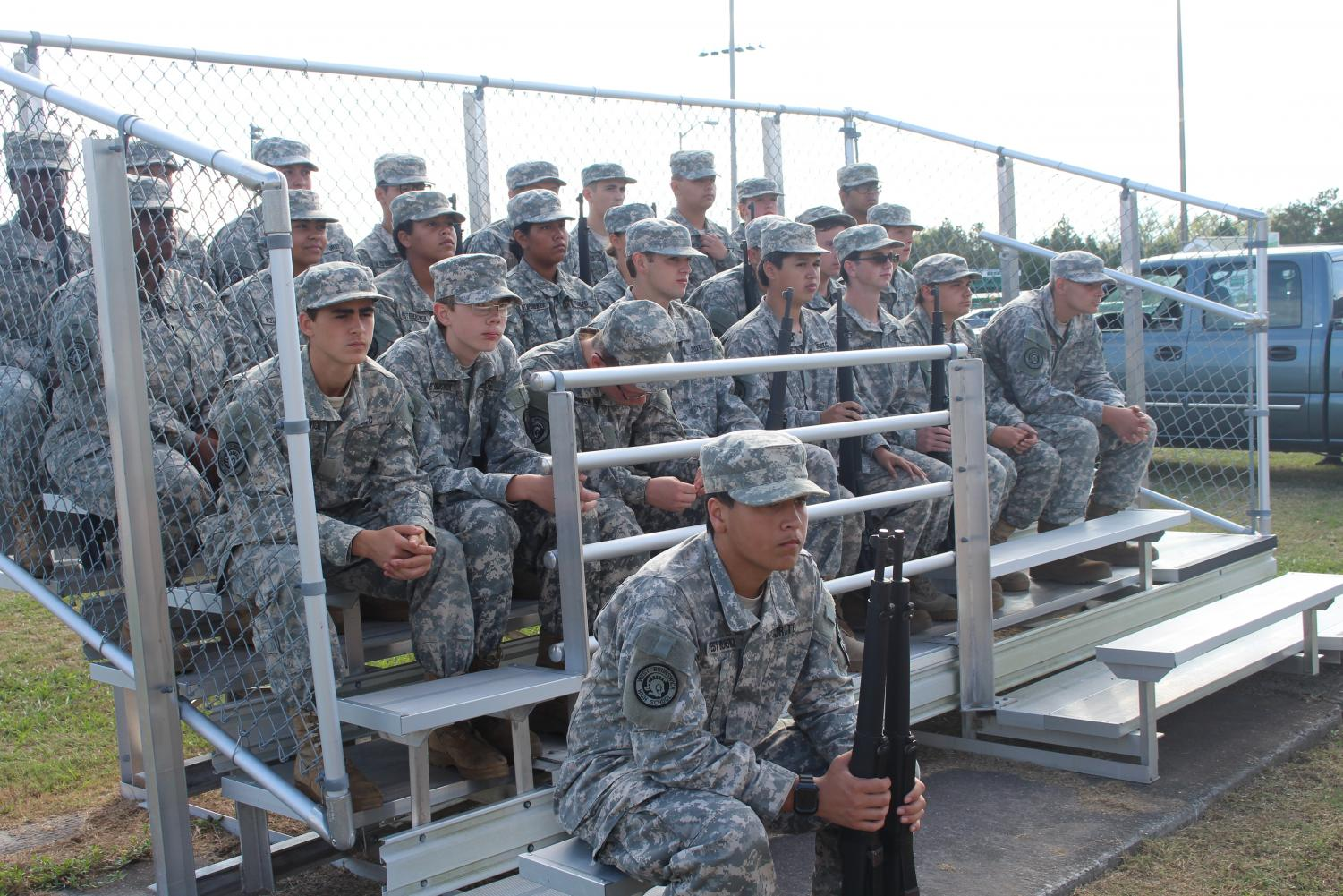 Cadets waiting to perform their routines.