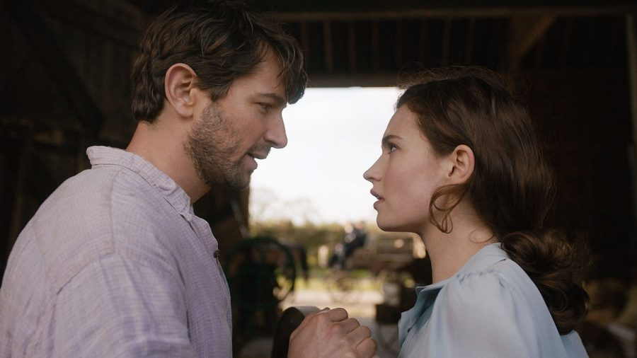 "Lily James and Michiel Huisman star in the heartwarming 2018 film, ""The Guernsey Literary and Potato Peel Pie Society""."