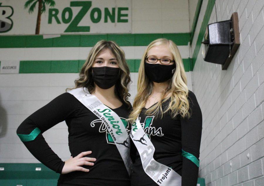 Dance team seniors Maisy Morse and Madison Long. -Missing Isleigh Sharpe.