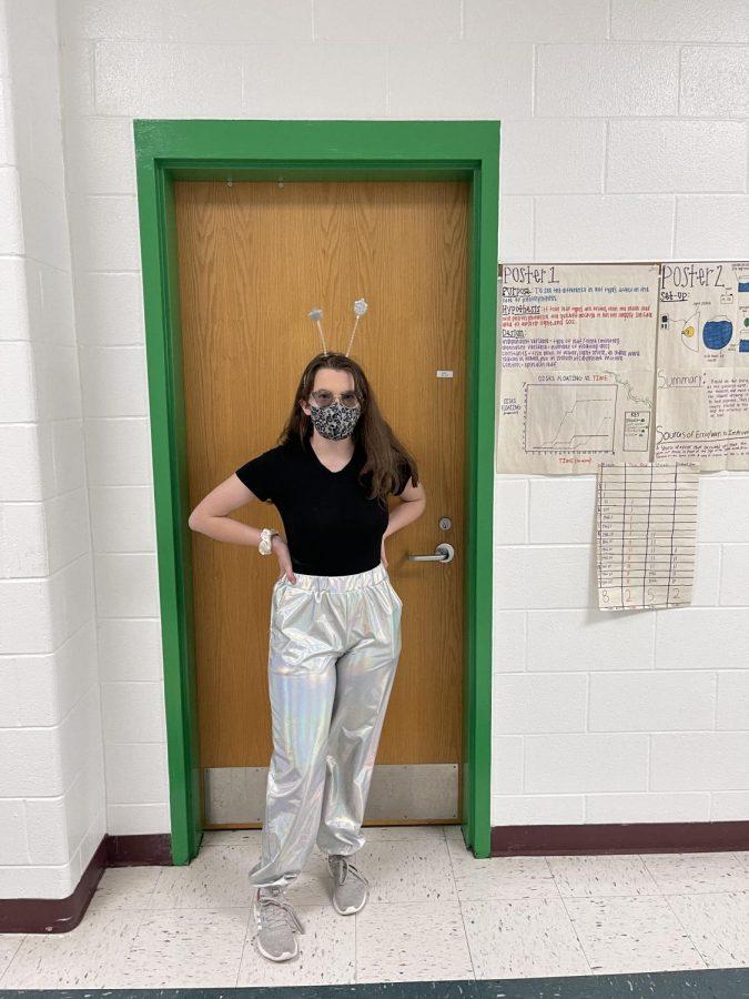 Senior Ryan Connick dresses as an alien for spirit week.