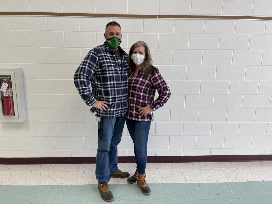 Math Teachers, Mr. Poulin and Mrs. Poulin dress up for spirit week.