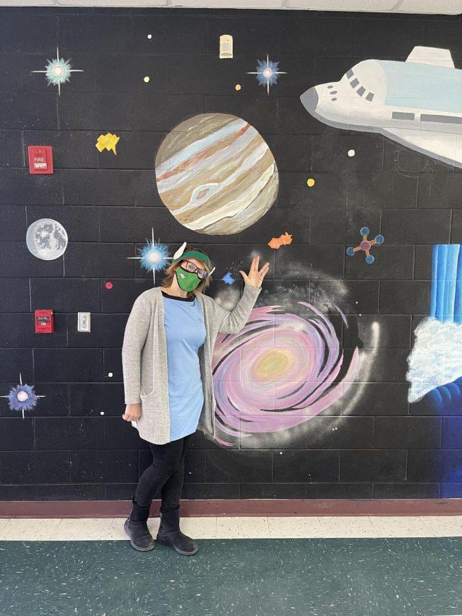 Theater teacher, Mrs. Creighton-Negron dressed up as an alien for spirit week.