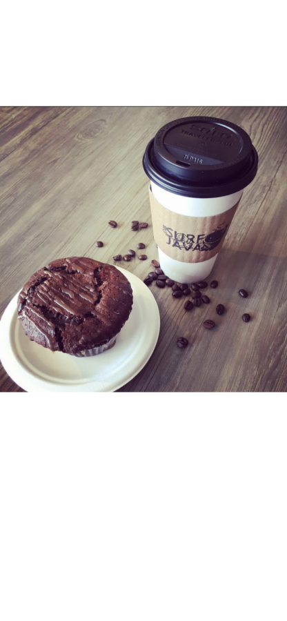 Cup of hot coffee and a freshly baked muffin from OIB Surf & Java.