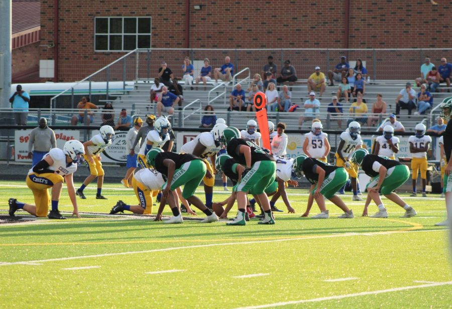 The Trojans attempt to make a play against the North Myrtle Beach Chiefs.