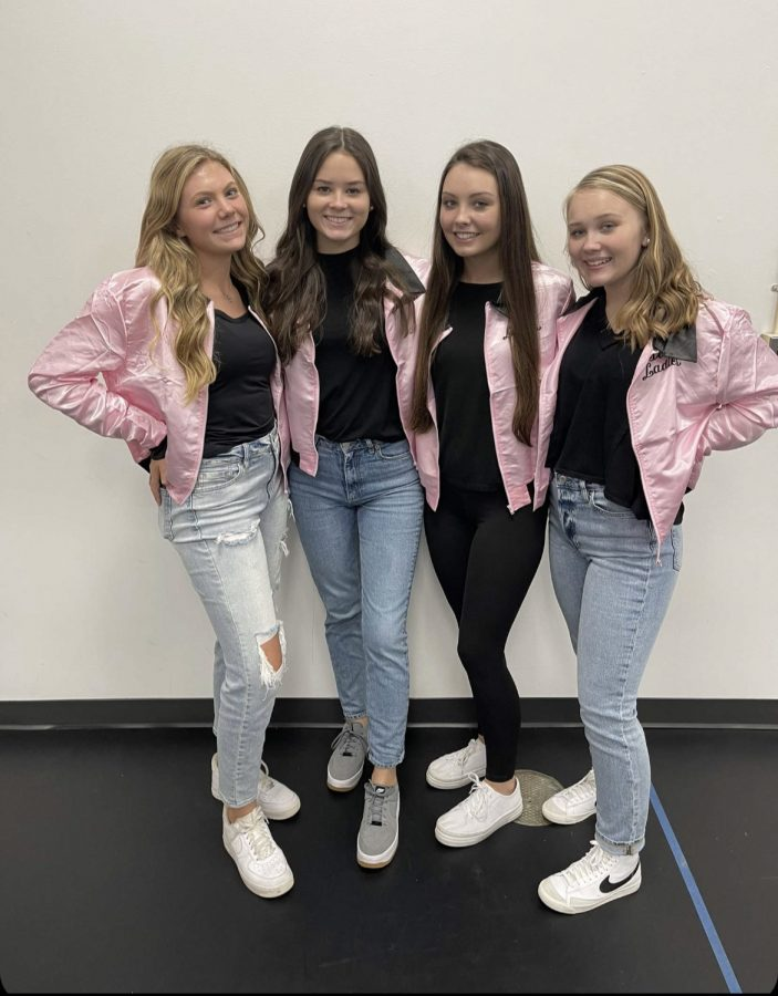 Camdyn Beck, Ally Smith, Lexi Long, and Addi Hardee dress up as the Pink Ladies